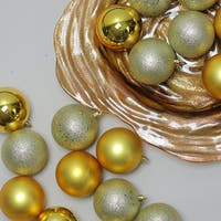 "32ct Vegas Gold Shatterproof 4-Finish Christmas Ball Ornaments 3.25"" (80mm)"