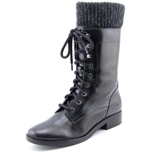 Marc Fisher Galina Women Round Toe Leather Black Mid Calf Boot