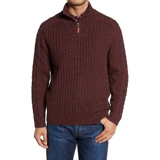 Tommy Bahama Red Mens Size Small S Ribbed Knit 1/4 Zip Sweater