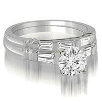 1.00 cttw. 14K White Gold Round And Baguette Cut Three Stone Diamond Bridal Set