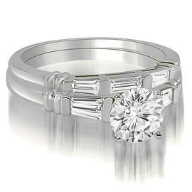 1.25 cttw. 14K White Gold Round And Baguette Cut Three Stone Diamond Bridal Set