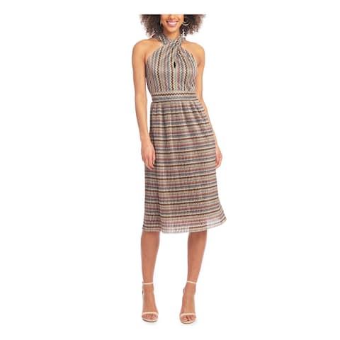 RACHEL ROY Orange Sleeveless Below The Knee Dress L