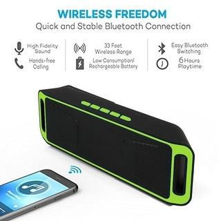 Indigi® Great Gift! Bluetooth 4.0 Portable Wireless Dual Speaker TF USB FM Radio (Green)