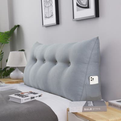 WOWMAX Bed Rest Wedge Bolster Pillow Decorative Gray Back Pillow