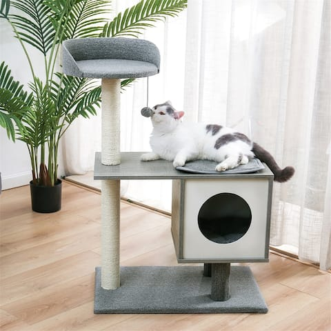 Modern Cat Tree with Sisal-Covered Posts Spacious Condo and Large Perch