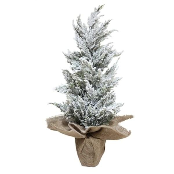 Pack of 6 Snowy Flocked Artificial Cedar Christmas Trees in Burlap Pots - Unlit 2'