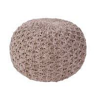 """20"""" Fossil Gray Textured Solid Pattern Spherical Cotton Pouf Ottoman"""