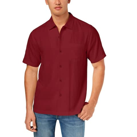 Tommy Bahama Mens Weekend Tropics Button-Down Shirt Silk Short Sleeves