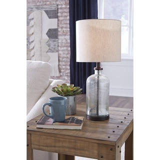 """Link to Bandile Modern Farmhouse Glass Table Lamp - 10""""W x 10""""D x 22""""H Similar Items in Table Lamps"""