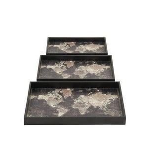Black Map Design Wood Trays Set Of 3