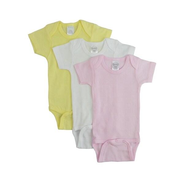 Bambini Girl's Yellow, White, Blue Rib Knit Pastel Short Sleeve One Piece