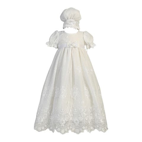 Baby Girls White Embroidered Tulle Gown Bonnet Baptism Set 0-12M