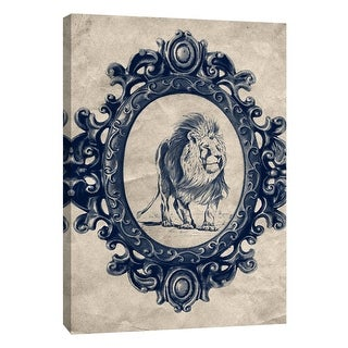 """PTM Images 9-105910  PTM Canvas Collection 10"""" x 8"""" - """"Framed Lion in Navy"""" Giclee Lions Art Print on Canvas"""