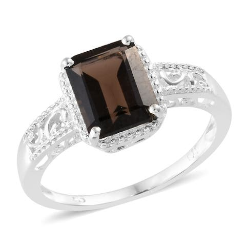 Shop LC 925 Sterling Silver Brown Stone Smoky Quartz Engagement Ring