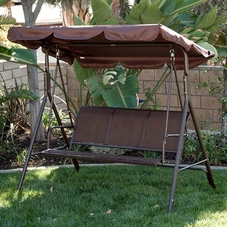 Belleze Outdoor 3-Person Patio Swing Canopy Awning Yard Furniture Hammock Steel, Dark Brown