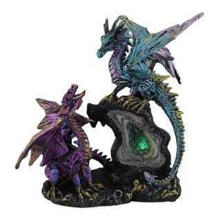 Dueling Dragons Gothic Color Changing LED Geode Statue - Multicolored