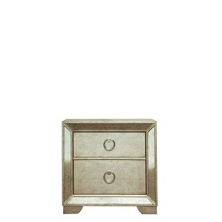 "Delacora HM-395140 Farrah 30"" Wide Hardwood Nightstand with 2 Drawers - Marbled Gold - N/A"