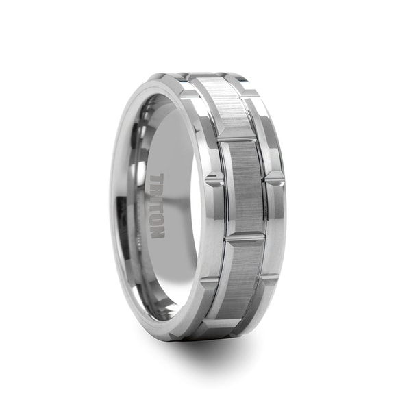 BOWEN White Tungsten Wedding Band with Etched Finished Center and Bright Cuts by Triton Rings - 8mm