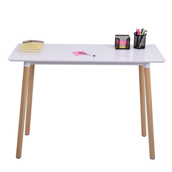Costway White Writing Desk Computer Table Home Office Furniture Workstation Learning