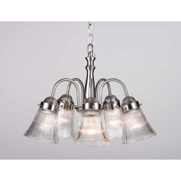 Volume Lighting V2385 Marti 5-Light 1 Tier Chandelier with Clear Ribbed Glass Bell Shade - Brushed nickel - n/a