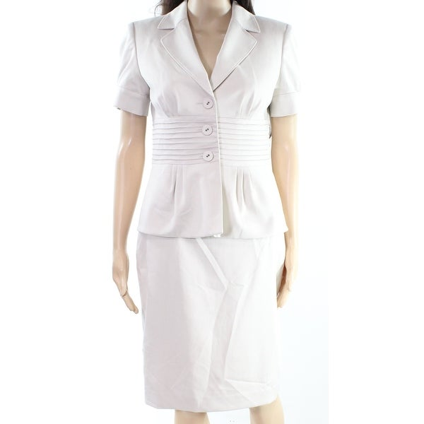 Anne Klein Womens Peplum Ribbed Skirt Suit