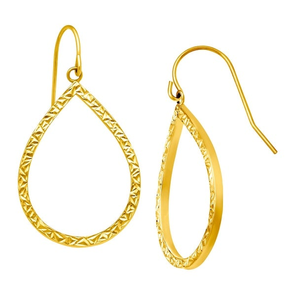 01066a2c7 Shop Eternity Gold Etched Open Teardrop Earrings in 10K Yellow Gold ...