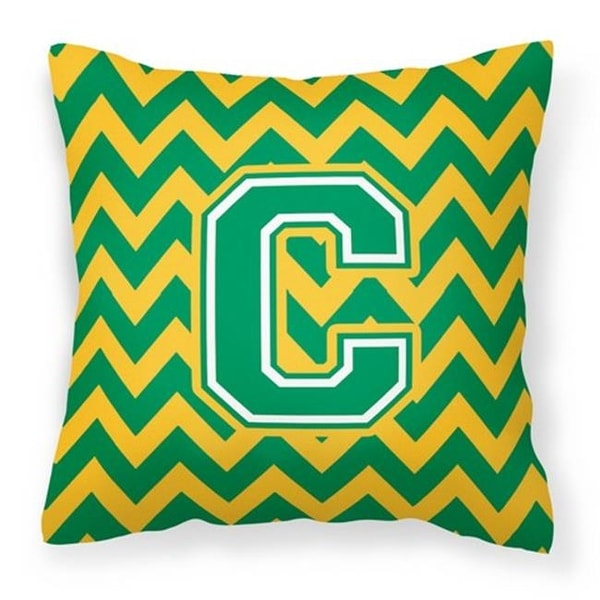 Letter C Chevron Green Gold Fabric Decorative Pillow