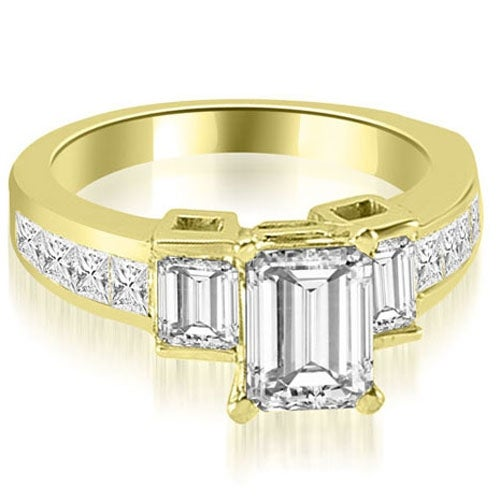 2.15 cttw. 14K Yellow Gold Channel Diamond Princess and Emerald Engagement Ring