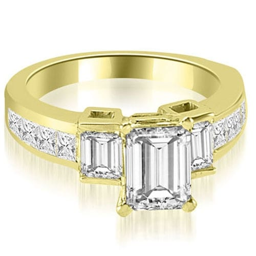 2.40 cttw. 14K Yellow Gold Channel Diamond Princess and Emerald Engagement Ring