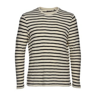 Vince Men's Cotton Crewneck Sweater XX-Large XXL 2XL Beige and Navy Stripes