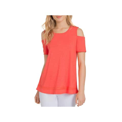 Lysse Womens Mira Pullover Top Jersey Cold Shoulder