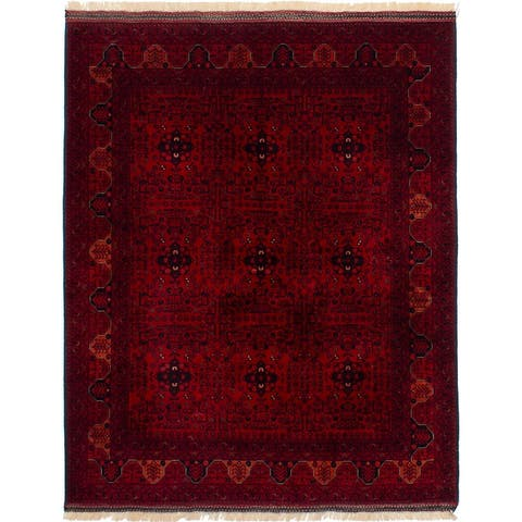 ECARPETGALLERY Hand-knotted Finest Khal Mohammadi Dark Red Wool Rug - 5'0 x 6'6