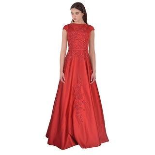 Teri Jon Floral Embellished Cap Sleeve Ball Evening Gown Dress - 12