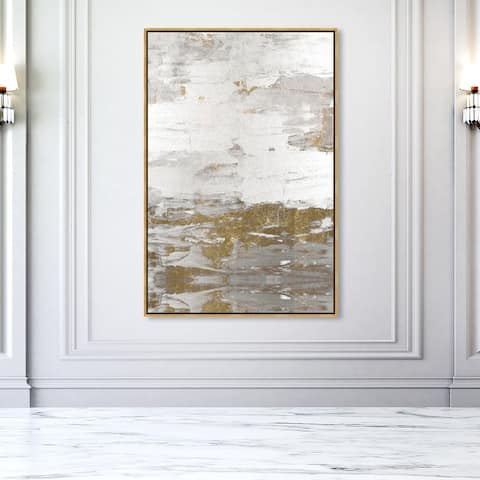 Oliver Gal 'Tall Sensation' Abstract Wall Art Framed Canvas Print Paint - Gold, White