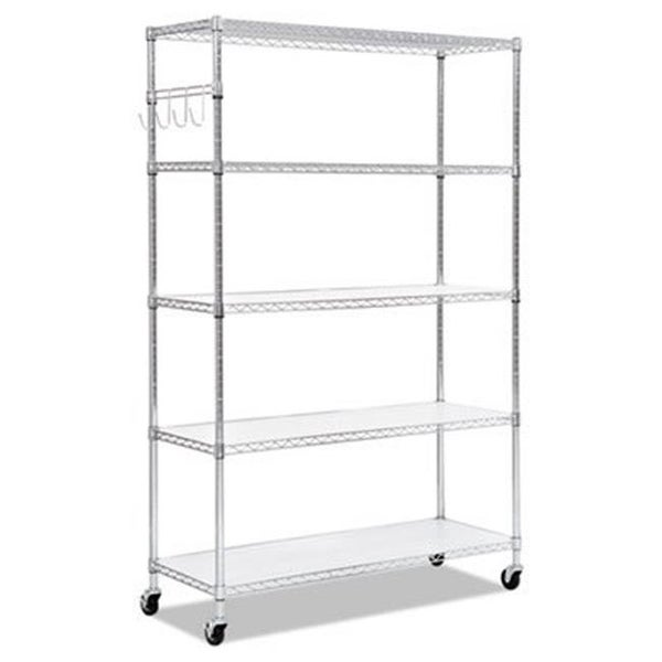 Wire Shelving Casters | Shop Alera 5 Shelf Wire Shelving Kit With Casters Shelf Liners 72