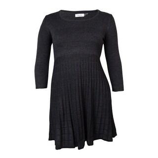 Calvin Klein Women's Scoop Neck Grid-Knit Sweater Dress
