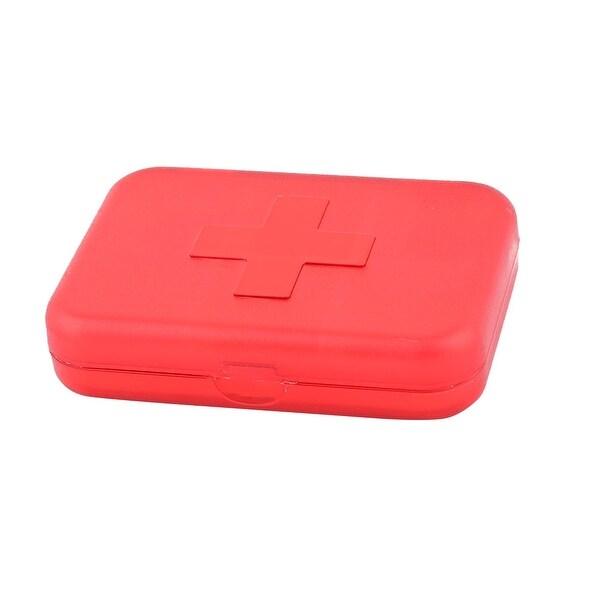 Plastic Rectangle 6 Slots Medicine Pill Capsule Storage Box Organizer Clear Red