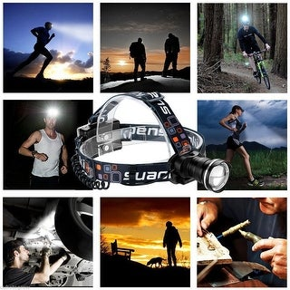 1200LM CREE LED Headlight Head Lamp Flashlight Torch Zoomable Battery Powered US - Black