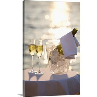 Premium Thick-Wrap Canvas entitled Wine bottle and glasses, Mallorca, Spain (4 options available)