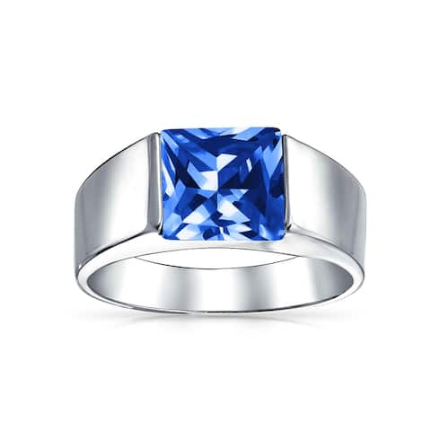 3CT Princess Cut Imitation Blue Sapphire AAA CZ Engagement Mens Ring