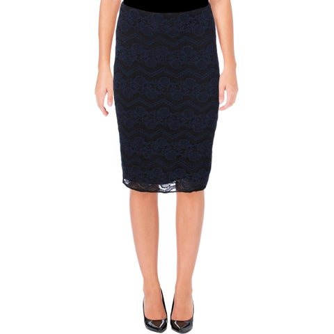 Aqua Womens Pencil Skirt Lace Zig-Zag