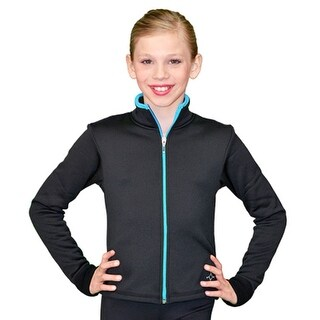 ChloeNoel Black Turquoise Zipper Ice Skating Jacket Girl 4-Adult XL