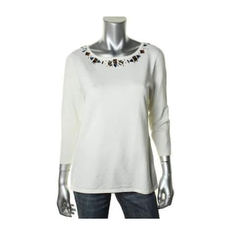 Cable & Gauge Women's Rhinestone Blouse Ivory (XL)