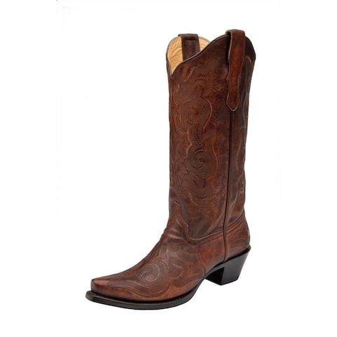 """Corral Western Boots Womens 13"""" Shaft Snip Toe Leather Stitching"""