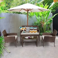 Costway 4 Pieces Patio Furniture Wicker Rattan Sofa Set Garden Coffee Table - as pic