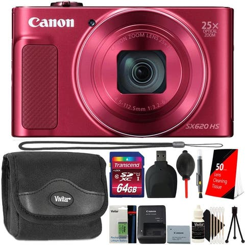 Canon PowerShot SX620 HS Digital Camera Red Bundle with Extra Battery