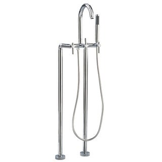 Giagni CFTF Contemporary Clawfoot Floor Mounted Tub Filler Faucet with Metal Lever Handles and Built-In Diverter - Includes