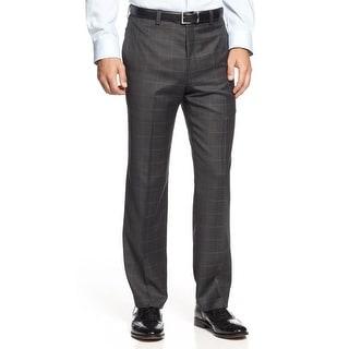Ralph Lauren Wool Glen Plaid Flat Front Dress Pants Charcoal 30 x 30 Trousers