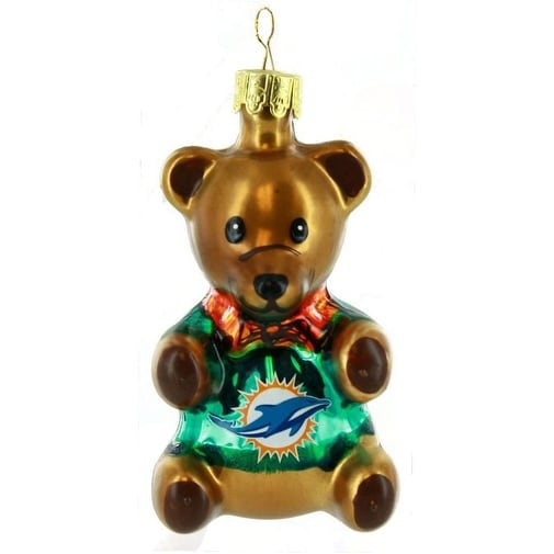 "Miami Dolphins 3.5"" Blown Glass Teddy Bear Ornament"