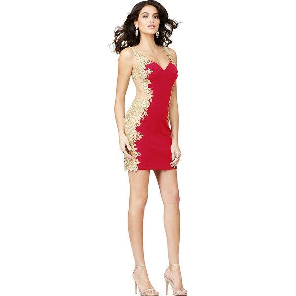 a462ed0743 Shop JVN by Jovani Womens Semi-Formal Dress Applique Illusion - Free  Shipping Today - Overstock.com - 18404767